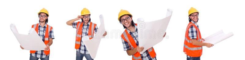 L'ingegnere divertente isolato sul bianco bianco immagini stock