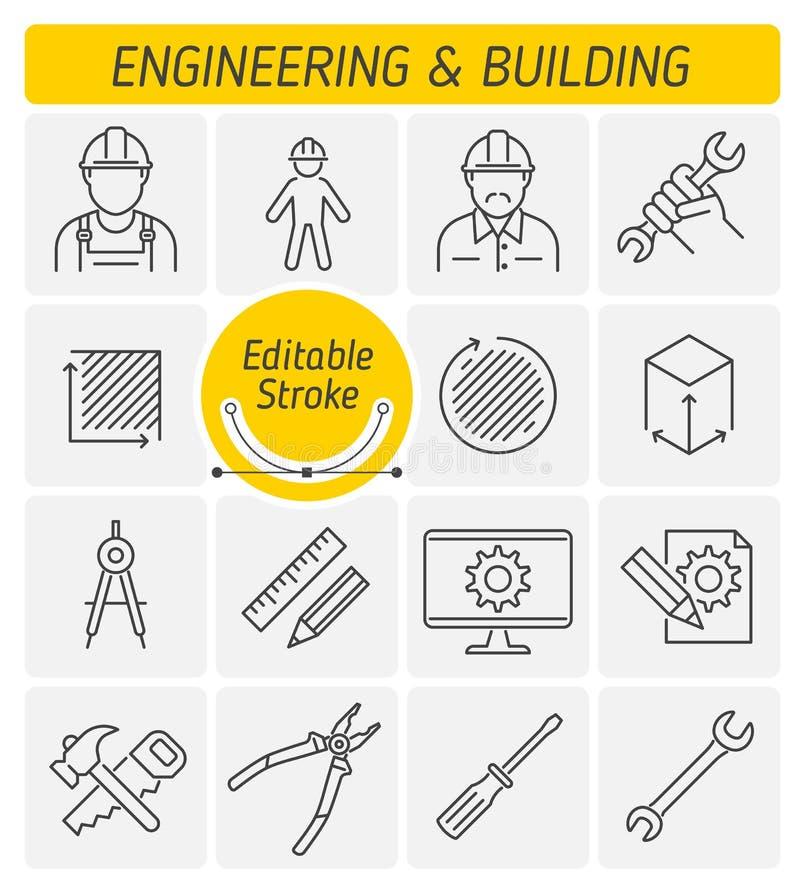 L'ingegneria e l'insieme dell'icona di vettore del profilo della costruzione royalty illustrazione gratis
