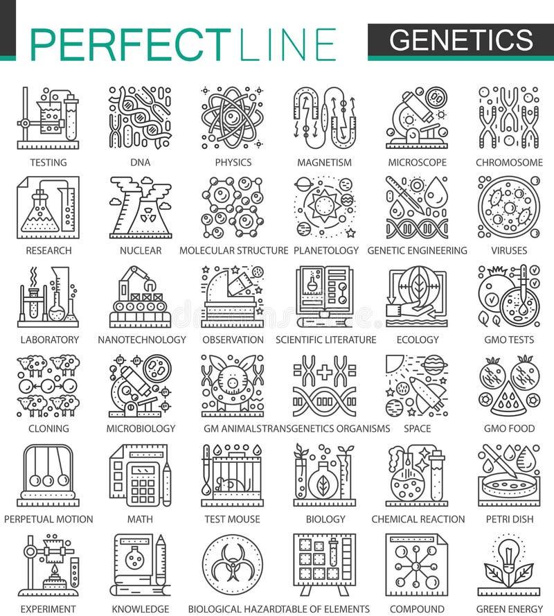L'ingegneria e la biochimica genetiche descrivono i mini simboli di concetto Illustrazioni lineari di stile del colpo moderno mes illustrazione di stock
