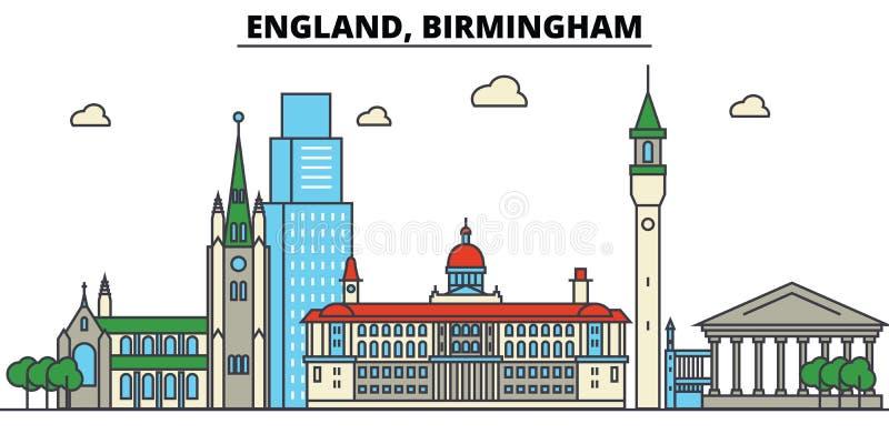 L'Inghilterra, Birmingham Architettura dell'orizzonte della città editable illustrazione vettoriale