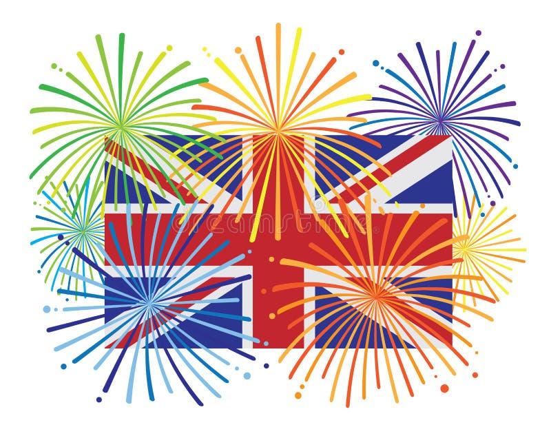 L'Inghilterra Jack Union Flag Fireworks Illustration illustrazione vettoriale