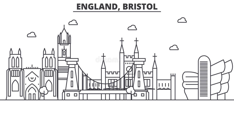 L'Inghilterra, linea illustrazione di architettura di Bristol dell'orizzonte Paesaggio urbano lineare con i punti di riferimento  illustrazione vettoriale