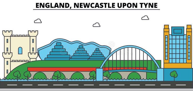 L'Inghilterra, Newcastle sopra Tyne Architettura dell'orizzonte della città illustrazione di stock