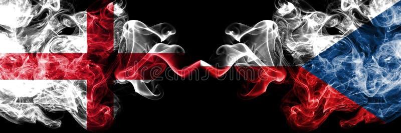 L'Inghilterra, repubblica Ceca, bandiere fumose variopinte spesse della concorrenza di vibrazione Giochi europei di qualificazion illustrazione di stock