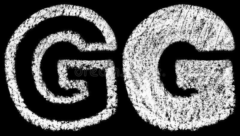 L'inglese bianco scritto a mano del gesso segna il G con lettere isolato sulla parte posteriore del nero illustrazione di stock