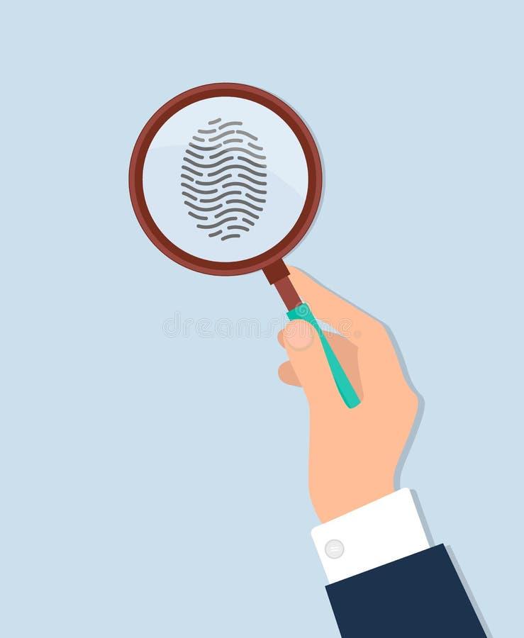 L'ingrandimento tenuto in mano umano studia l'impronta digitale illustrazione vettoriale