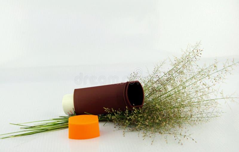 L'inhalateur et l'herbe d'asthme de Brown fleurissent sur le fond blanc image stock