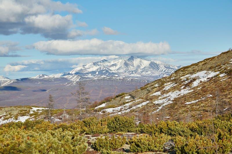 L'inizio dell'estate in montagne su Kolyma Della neve bugie ancora immagini stock libere da diritti