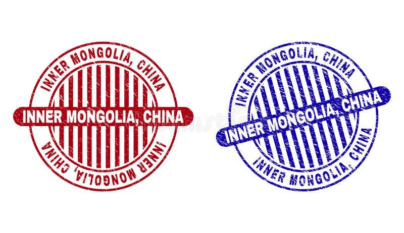 L'INNER MONGOLIA grunge, CHINE a donné aux joints une consistance rugueuse ronds de timbre illustration de vecteur