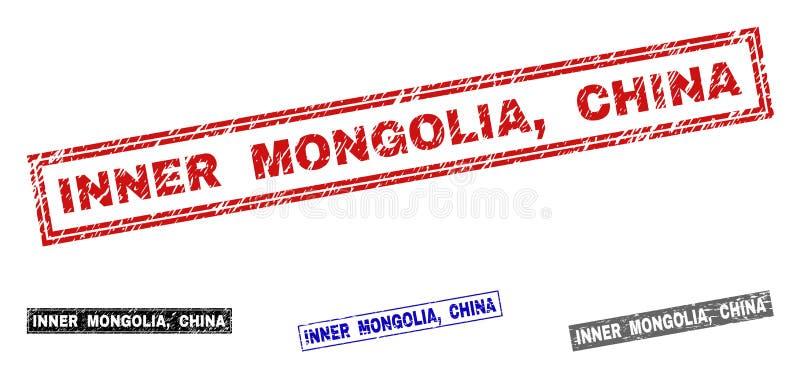 L'INNER MONGOLIA grunge, CHINE a rayé des filigranes de rectangle illustration de vecteur