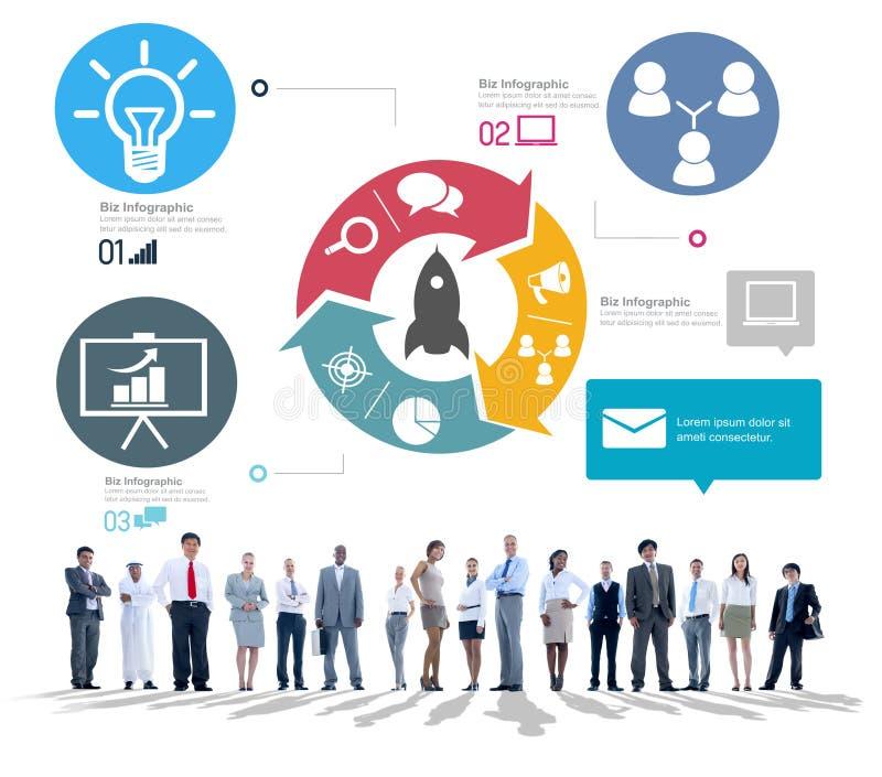L'innovazione inizia sul concetto della crescita di successo illustrazione vettoriale