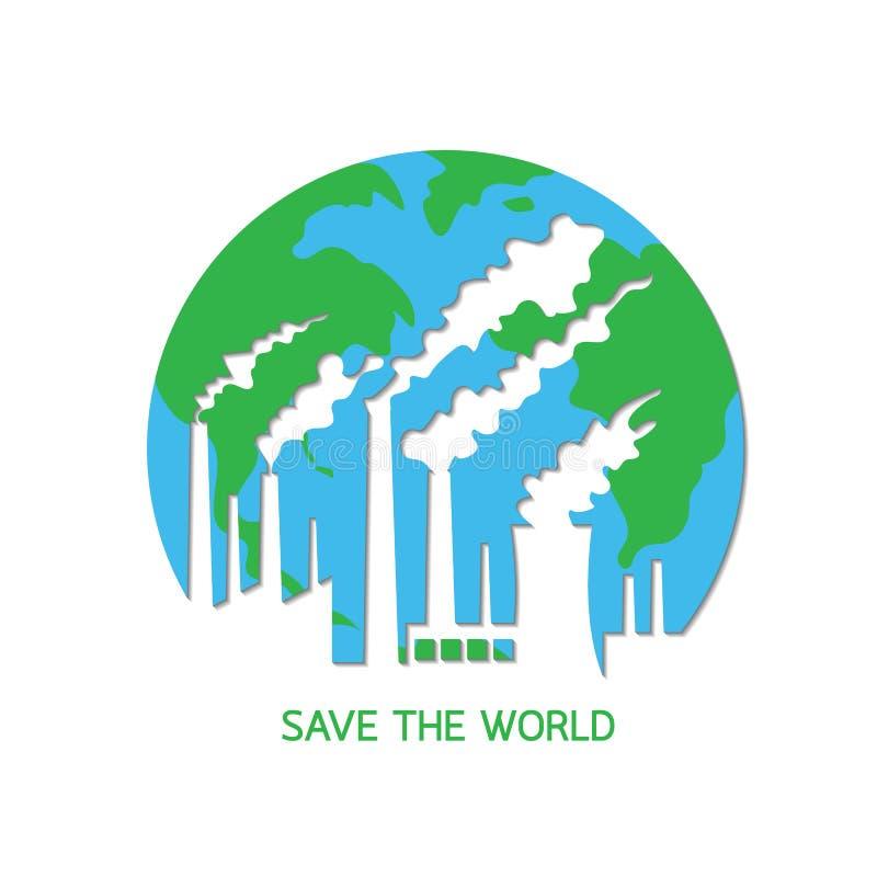 L'inquinamento distrugge il pianeta Terra illustrazione vettoriale