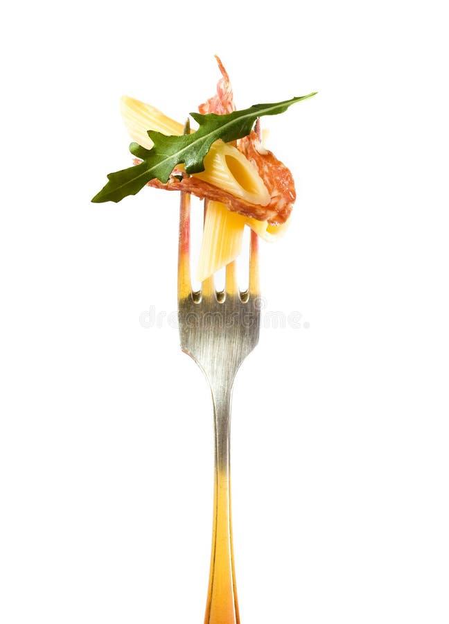 L'insalata di pasta italiana sticked sopra immagini stock libere da diritti