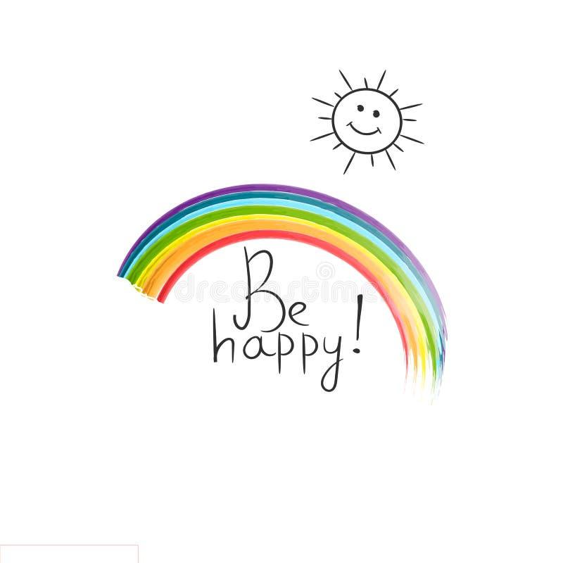 L'inscription cite la motivation pendant la vie et le bonheur, citation inspirée Conception de motivation de citation de matin po illustration stock