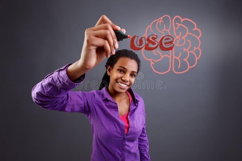 L'inscription d'écolière emploient le cerveau sur le mur transparent photographie stock