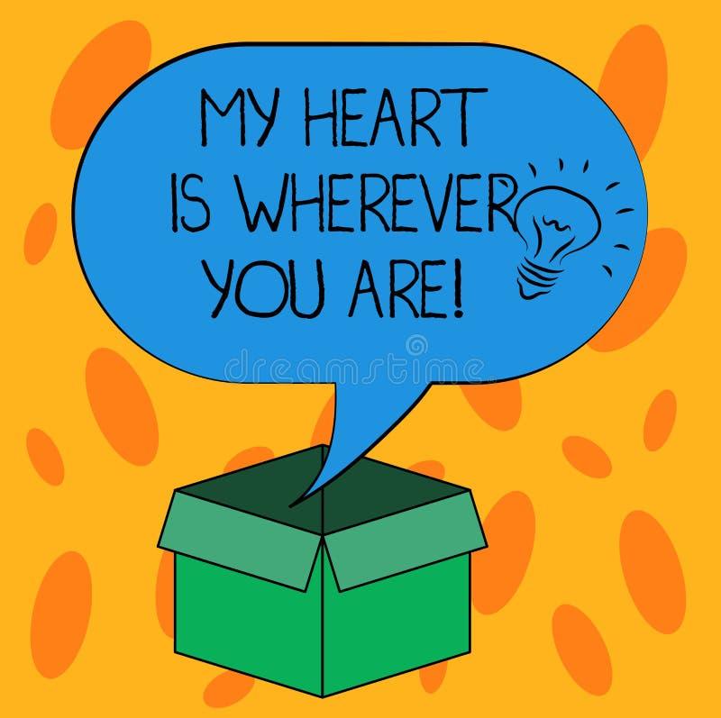L'inscription de la note montrant mon coeur est partout où vous êtes Photo d'affaires présentant exprimant des sentiments roanaly illustration stock