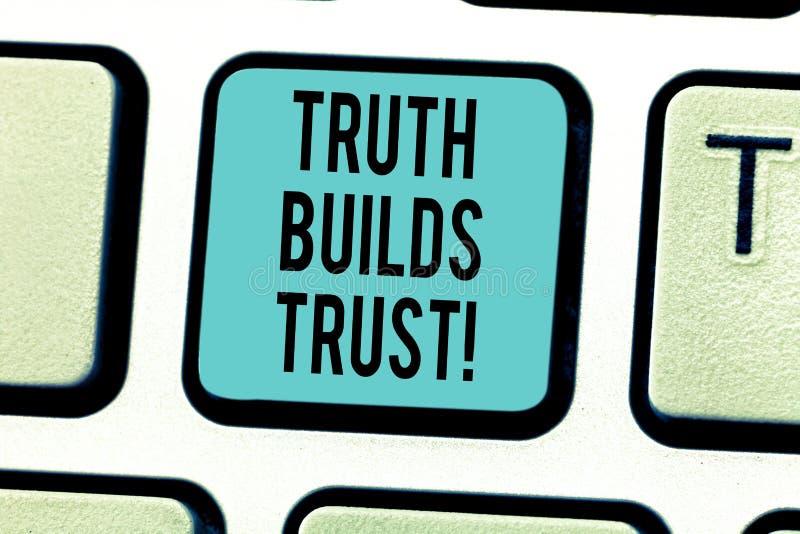 L'inscription de la vérité d'apparence de note construit la photo d'affaires de confiance vous présentant pensent qu'ils sont fia illustration libre de droits
