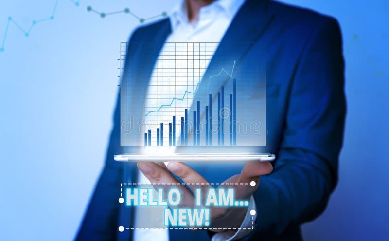 L'inscription de Word me textotent bonjour suis nouvelle Concept d'affaires pour usage comme salutation ou pour commencer la conv photo stock