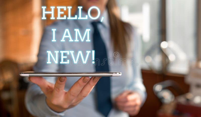 L'inscription de Word me textotent bonjour suis nouvelle Le concept d'affaires pour usage comme salutation ou pour commencer la c photo libre de droits