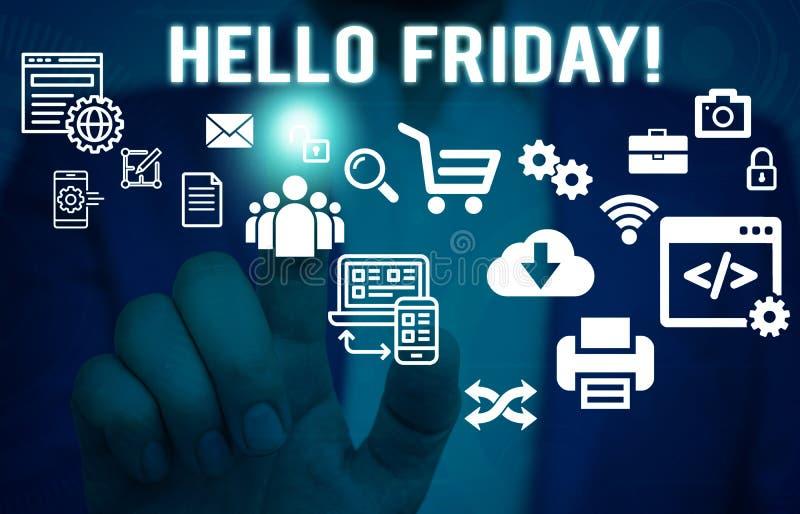 L'inscription de Word textotent bonjour vendredi Concept d'affaires pour usage pour exprimer le bonheur du début de l'humain frai images libres de droits