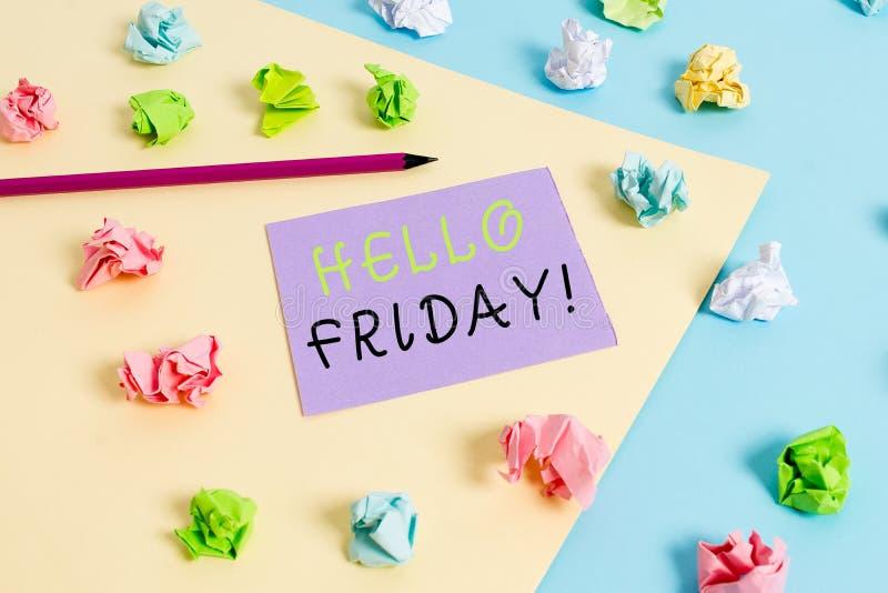 L'inscription de Word textotent bonjour vendredi Concept d'affaires pour usage pour exprimer le bonheur du d?but de la semaine fr images stock