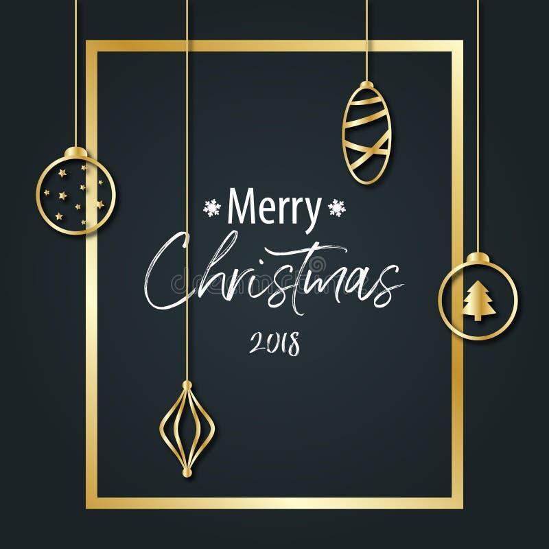 L'inscription du Joyeux Noël sur un fond noir dans un aller illustration stock