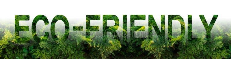 L'inscription qui respecte l'environnement sur le fond d'une plantation de carotte Récolte favorable à l'environnement, contrôle  photo libre de droits