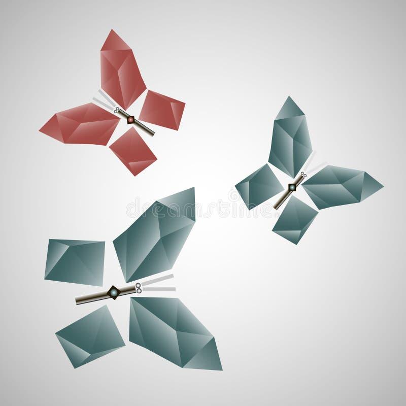 L'insecte de papillon d'abstraction de Digital avec des ailes modèlent des triangles géométriques illustration de vecteur