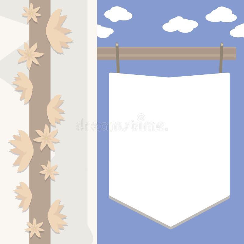 L'insegna bianca sulla via contro un cielo blu con le nuvole, l'angolo di una parete bianca della casa e un tronco di albero con  royalty illustrazione gratis