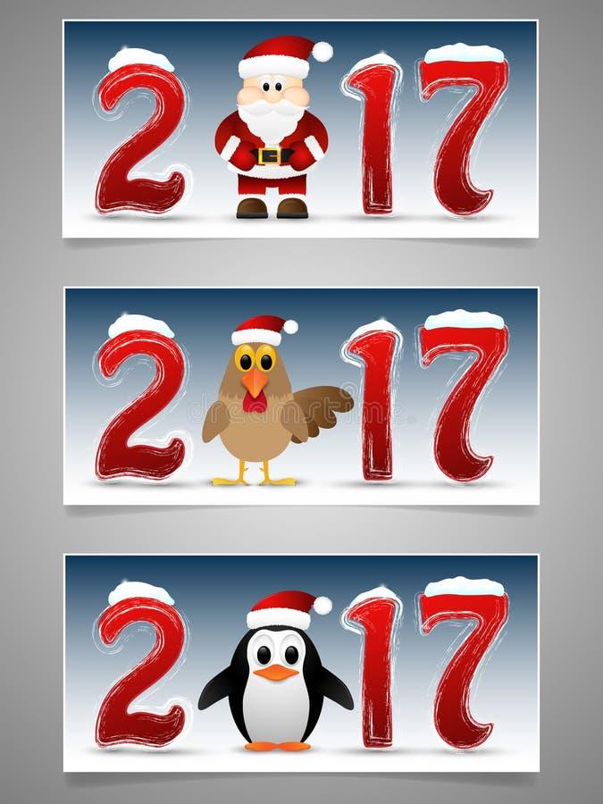 L'insegna del buon anno ha messo con Santa Claus, il pinguino ed il gallo illustrazione di stock