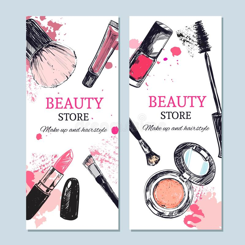L'insegna del deposito di bellezza con compone gli oggetti Vettore del modello Oggetti isolati disegnati a mano Cosmetici royalty illustrazione gratis