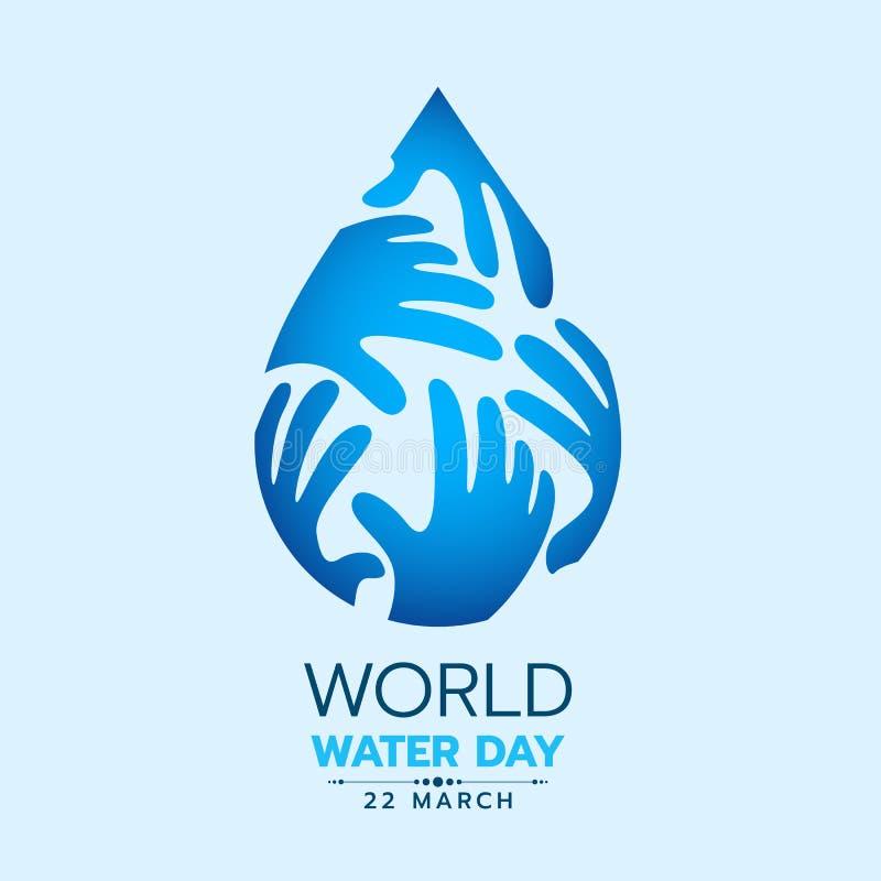 L'insegna del giorno dell'acqua del mondo con le mani blu cade la progettazione di vettore del segno dell'acqua illustrazione vettoriale