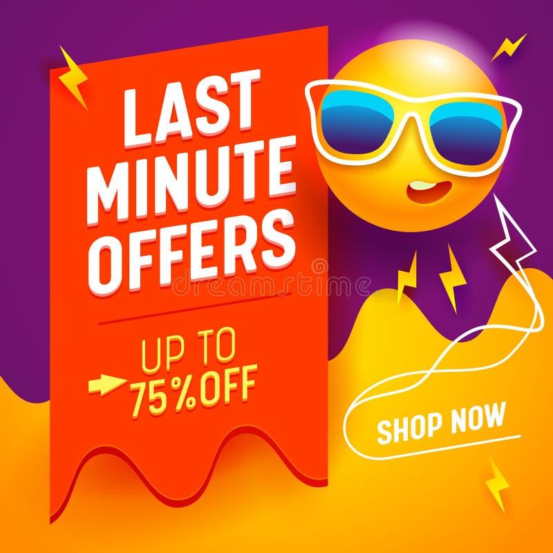 L'insegna dell'ultimo minuto di offerte con il fumetto sveglio umanizzato espone al sole gli occhiali da sole d'uso sul fondo ast royalty illustrazione gratis