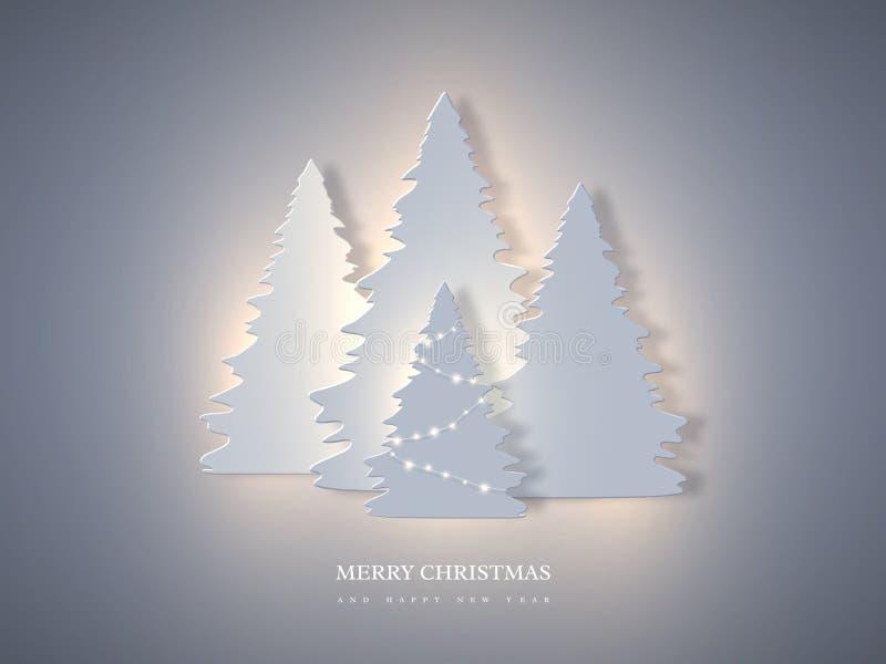 L'insegna di festa di Natale con carta ha tagliato l'abete di stile e le luci d'ardore Fondo del nuovo anno, illustrazione di vet illustrazione di stock