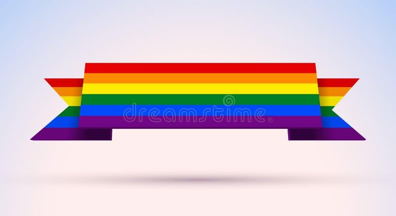 L'insegna di gay pride con l'arcobaleno ha colorato la bandiera per Pride Month illustrazione vettoriale