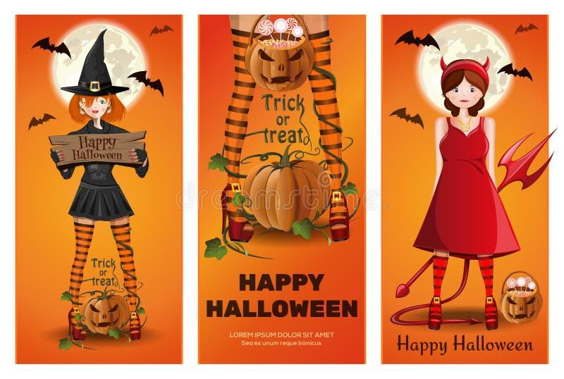 L'insegna di Halloween ha messo con le ragazze in vestito operato royalty illustrazione gratis