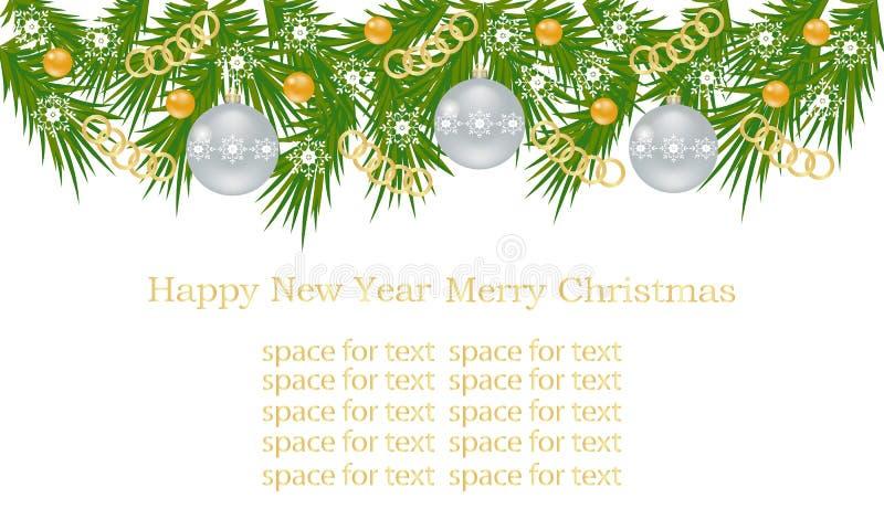 L'insegna di Natale, carta con l'albero di Natale si ramifica, palle di Natale, catene dell'oro ed ornamenti, fiocchi di neve bia immagine stock libera da diritti
