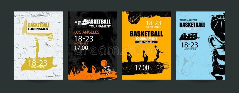 L'insegna di pallacanestro, ha messo i modelli per il torneo, la palla astratta, stile di sport di lerciume illustrazione di stock