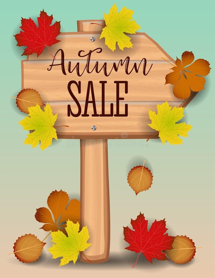 L'insegna di vendita di autunno, l'acero variopinto di carta della foglia dell'albero, sorba va sul fondo di legno di struttura P illustrazione vettoriale