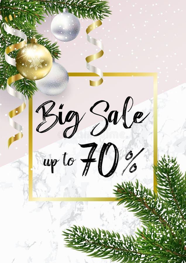 L'insegna di vendita di Natale Marmo, palle e rosa illustrazione di stock