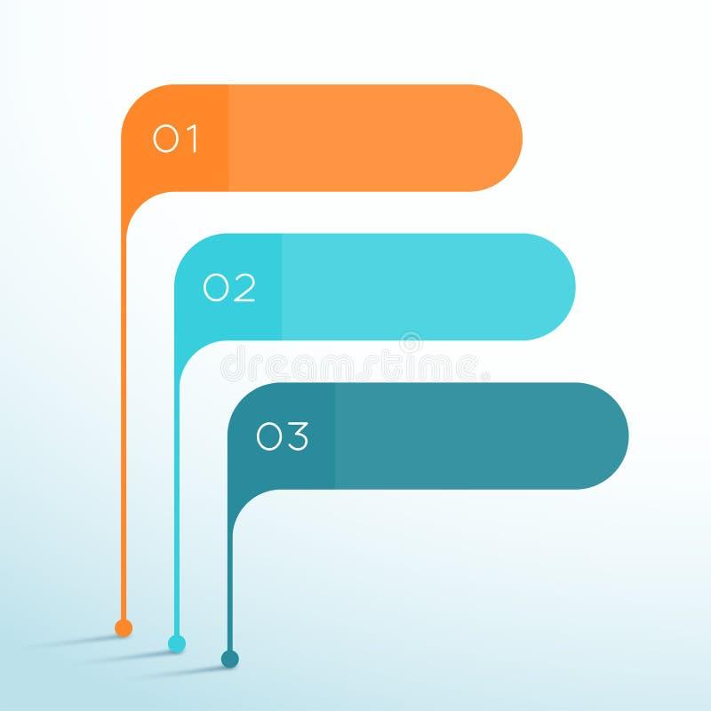L'insegna di vettore di 3 punti modella il modello di 3d Infographic illustrazione vettoriale