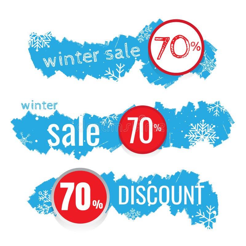 L'insegna di vettore di vendita dell'inverno ha messo con la vendita per stagionale royalty illustrazione gratis