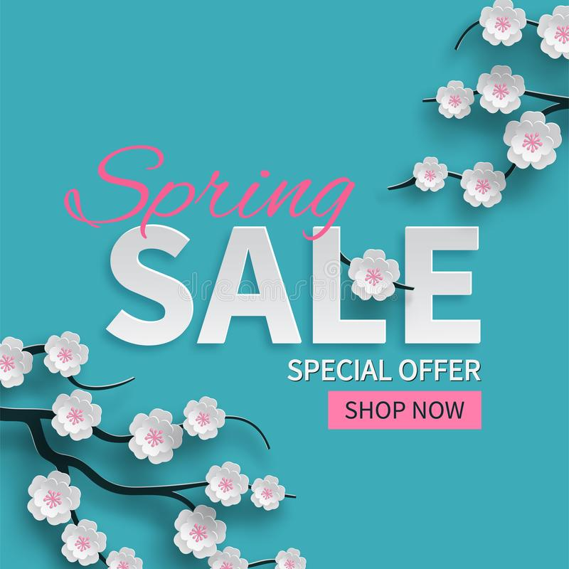 L'insegna floreale di vendita della primavera con carta ha tagliato i fiori rosa di fioritura della ciliegia su fondo blu per pro illustrazione di stock