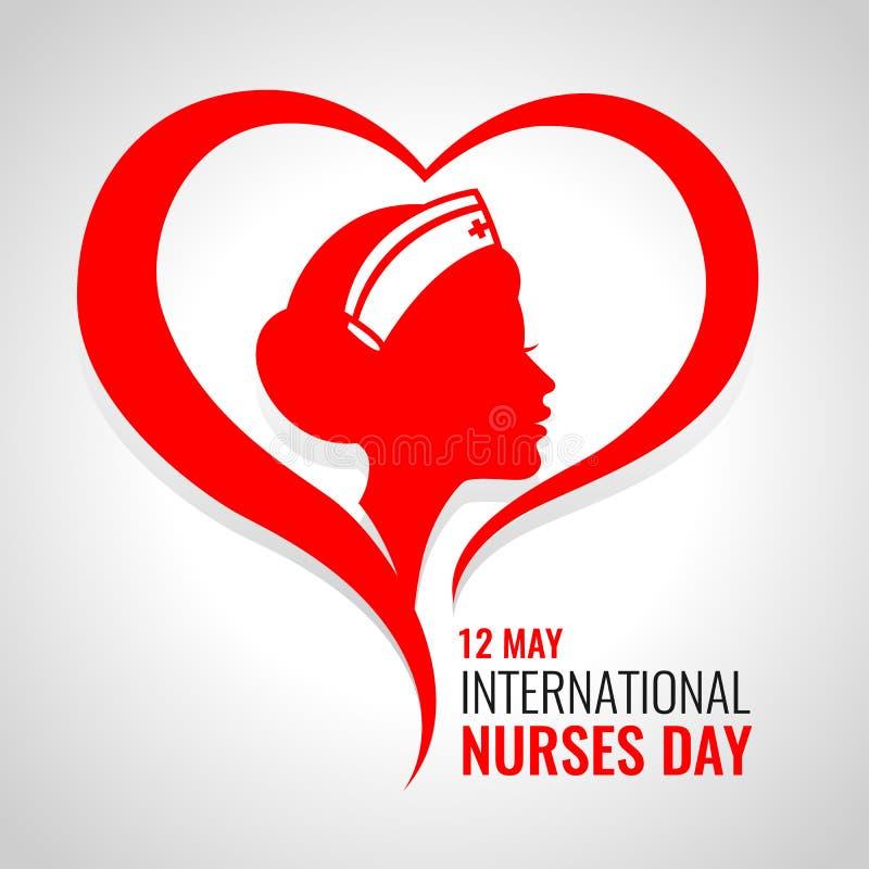 L'insegna internazionale del giorno degli infermieri con la donna rossa cura nella progettazione di vettore del segno del cuore illustrazione vettoriale