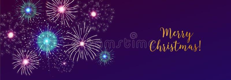 L'insegna orizzontale di web con i fuochi d'artificio che visualizzano in cielo scuro di sera e la festa di Buon Natale desideran illustrazione vettoriale