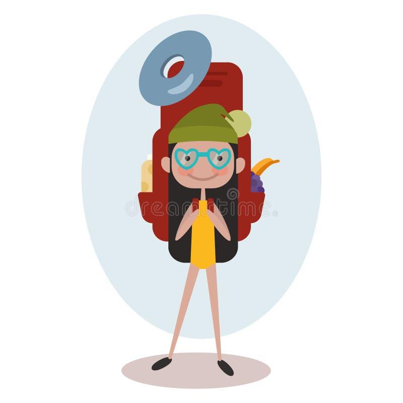 L'insegna quadrata con la donna turistica di sorriso dei giovani della ragazza è un viaggiatore con un modello delle cose per tur illustrazione di stock