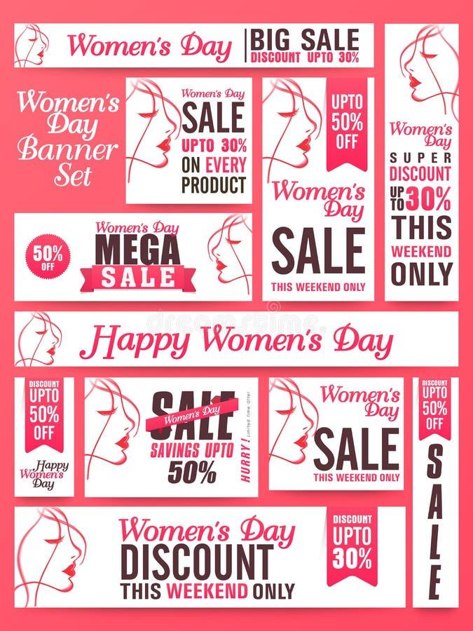 L'insegna sociale di media di vendita ha messo per il giorno delle donne illustrazione di stock