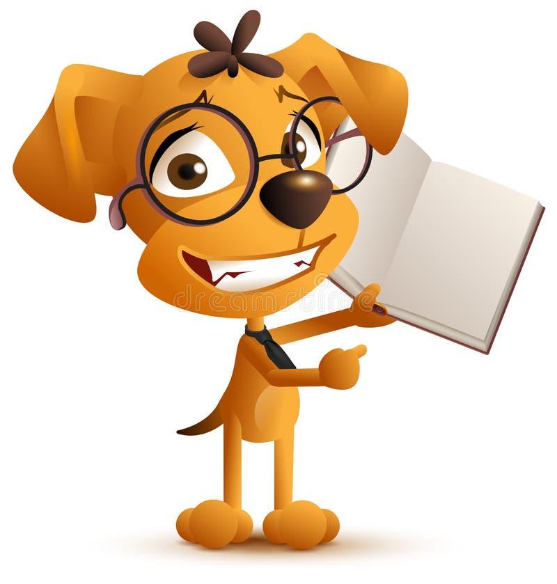 L'insegnante astuto giallo del cane con i vetri tiene un libro aperto royalty illustrazione gratis