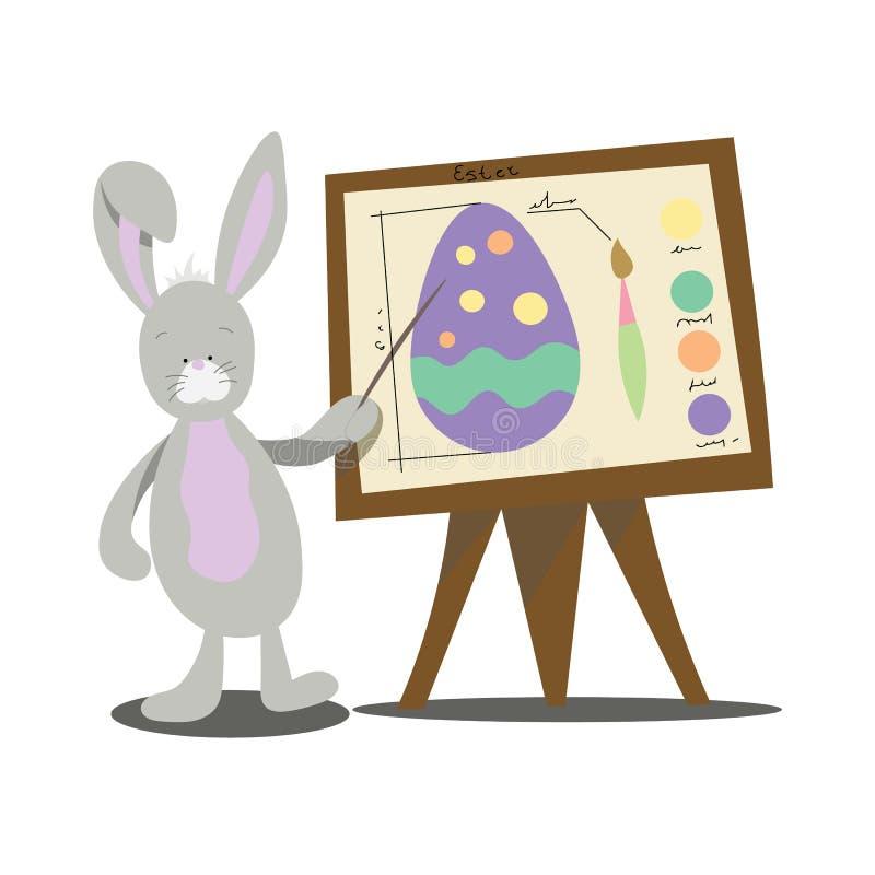 L'insegnante del coniglio mostra come dipingere le uova per Pasqua fotografia stock