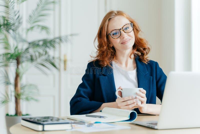 L'insegnante femminile piacevole fa il lavoro di ricerca sul computer portatile, annota le informazioni in blocco note, gode di d fotografie stock libere da diritti